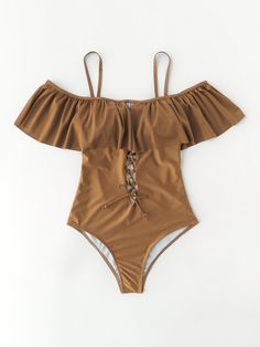 Shein Criss Cross Design Open Back Flounce Swimsuit Summer Bathing Suits, Cute Bathing Suits, Summer Swimwear, Trendy Outfits, Summer Outfits, Fashion Outfits, Beach Attire, Lace Dress With Sleeves, Cute Swimsuits