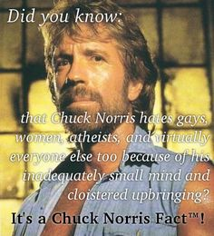 The only Chuck Norris Fact that bears repeating. Aside from those at http://rationalwiki.org/wiki/Chuck_Norris