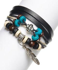 Black & Teal Feather Boho Bracelet #zulily #zulilyfinds