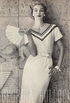 Sunny Harnett in a Georgia Bullock Fashion ad, 1958
