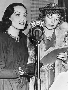Joan Crawford & Margaret Sullavan - 1938 This was our entertainment..listening to stars reading their lines to a microphone while WE used our imaginations.