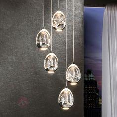 Fünfflammige LED-Hängeleuchte Rocio, chrom sicher & bequem online bestellen bei Lampenwelt.de.