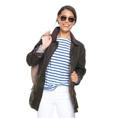 Barbour® Classic Olive Beadnell Wax Jacket - more feminine cut