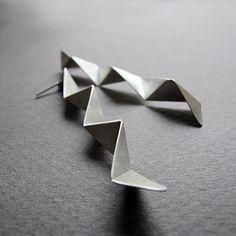 Handmade Silver Geometric Earrings, 3d silver earrings, Contemporary Silver Jewelry