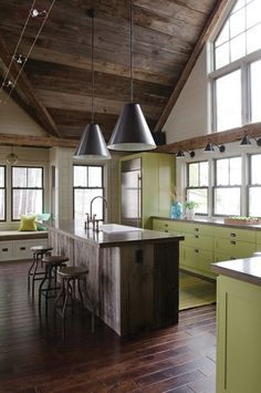 herbaceous green color in limited doses contemporary kitchen by OLSON LEWIS + Architects