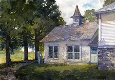 """Carriage House by Richard Sneary Watercolor ~ 10"""" x 14"""""""