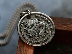 Custom Engraved Necklace, Dragon Pendant, Character Letters, Custom Engraving, Engraved Gifts, Dragon Necklace, Men Necklace, Fashion Necklace, Diamond Cuts
