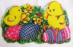 30 Off SALE Vintage Easter Die Cut Decorations by teresatudor, $7.50