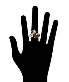 Geometric Jeweled Ring Cuff - Gold and Black  $7