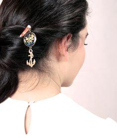 """""""La Marine"""" Pic à Cheveux Ancre de Bateau - Accessoire coiffure - Chignon d'été - Cœurs dorés sur fond violet : Accessoires coiffure par l-oiseau-seraphine"""