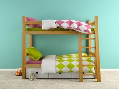 Part of  interior with bunk bed 3D rendering