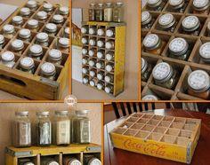 Kitchen Organizer - using Mason Jars and an old bottle case