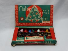 Vntg Muter Christmas Tree 7 Light Set w/Spring Clips General Electric Lamps 1930