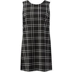 Black Grid Check Sleeveless Dress (21 AUD) ❤ liked on Polyvore featuring dresses, vestidos, clothes - dresses, sleeveless dress, round neck sleeveless dress, checkered dress, kohl dresses and black scoop back dress