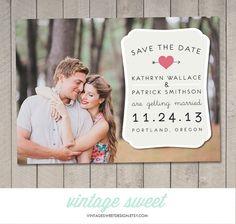 Save the Date Card / Magnet / Postcard (Printable DIY) by Vintage Sweet Design On Etsy  {$12.00}   vintagesweetdesign.etsy.com