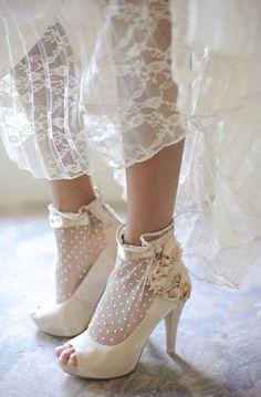 Polka Dot Mesh Heels  THESE R TOO CUTE & SO ME!!! :-)