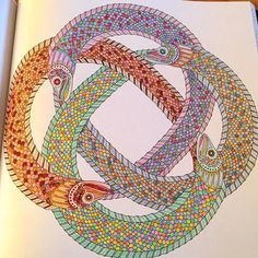 """Finished product! #clericocreations #eels #lostocean #adultcoloring #johannabasford"""