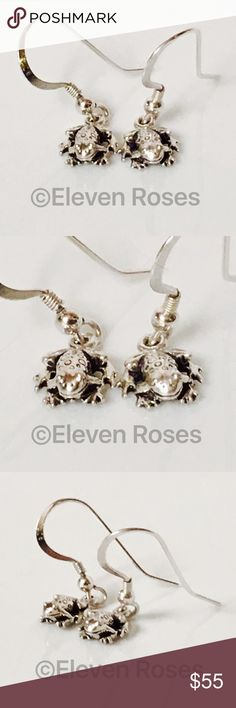 Sterling Silver & 14k Frog Dangle Hook Earrings Adorable Frog Dangle Earrings - Shepherds Hook Fasteners (for pierced ears) - Hallmarked; 925 & 14k (I don't see yellow gold, so may be white gold) -  Preowned / Preloved  💕 May Show Slight Signs Of Having Been Worn.   📷  Listing Images Are Of Actual Item Being Offered Accessories Jewelry