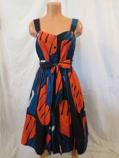 421f816e1f359 Details about ANTHROPOLOGIE Maeve FRAGMENTED PIPEVINE DRESS 4 full skirt  TROPICAL retro 2010