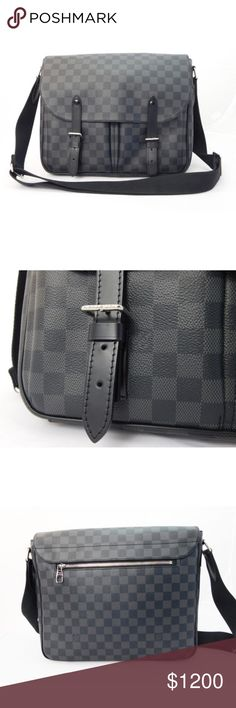 "Louis Vuitton Damier Christopher Messenger Bag Date code:TR0116 100%  leather trim, canvas body, fabric interior Black and grey, Graphite, Damier color and print Silver hardware Flap with two hidden magnetic snaps closure Black fabric interior Inside five pockets for organization Back exterior zipper pocket Two front pockets Interior two pen holders Comes with original duster bag  Condition: Very lightly used. Near mint condition. Comes with duster bag.(Second hand item) Length: 14"" Height…"
