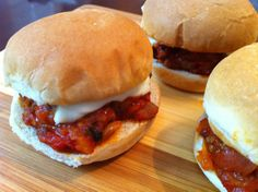 Sloppy Giuseppe Sliders   ~~~   A twist on classic Sloppy Joes, these delicious (and not so sloppy) Italian-style mini-sandwiches are a fabulous game day snack. Everyone I've served them to has raved, even people who don't like traditional Sloppy Joes!  This Italian-influenced spin on traditional sloppy Joes will have your whole family cheering.