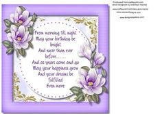 Incert with Verse and lilac Magnolias  on Craftsuprint designed by Ceredwyn Macrae - A lovely Incert , with Verse and lilac Magnolias to compliment any card there is a matching sheet to go with this design please see the related sheet,  - Now available for download!