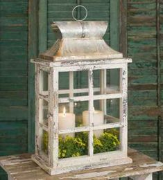 Large Windowpane Lantern has a door on the side that closes with a latch. The gorgeous distressed finish will complement your country, rustic or farmhouse decor. Shown with two diameter candles. Candles are not included. Shabby Chic Bedrooms, Shabby Chic Homes, Shabby Chic Decor, Rustic Decor, Farmhouse Decor, Shabby Chic Lanterns, Farmhouse Style, Rustic Style, Lantern Centerpieces