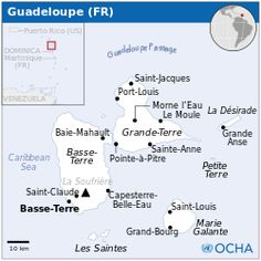 Guadeloupe a group of Carrabean islands and is an overseas region of france - Location Map - GLP - UNOCHA. Puerto Rico, Pointe À Pitre, Saint Claude, Union Territory, Done With Life, Island Map, Saint Louis, Saint Jacques, Location Map