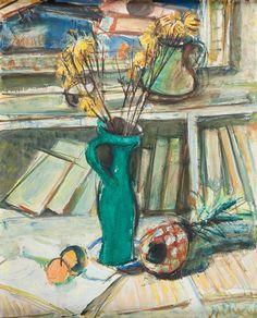Zygmunt Józef Menkes (1896-1986), Martwa natura z zielonym wazonem i ananasem, olej/płótno, 81,2 x 65,5 cm