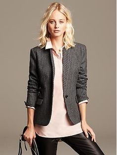 Chalk-Stripe Wool Blazer | Banana Republic