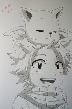 Just Cute - Natsu and Happy by KuroodoFoosutasu.deviantart.com on @deviantART