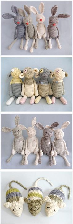 Cute Crocheted Creations by eineIdee - no pattern, just cuteness! super kawaii amigurumi bunnies mice, and sheep. I wish I had the patience to crochet! Crochet Diy, Crochet Amigurumi, Love Crochet, Amigurumi Patterns, Crochet Crafts, Crochet Dolls, Yarn Crafts, Knitting Patterns, Crochet Patterns