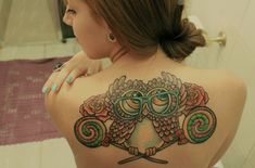 Cute Owl Tattoo for Women. owl tattoos are very popular tattoo design that can be painted by women and men. Owl tattoo design is really cute.