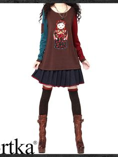 exotic matryoshka doll top  This top features a lovely Russian matryoshka doll at the front. It is a fun t-shirt with sleeves of different color, patch pocket on sleeve and fake-two-piece cuffs. A-line cutting perfectly shows your body curve.
