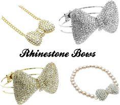 """Jewelry Trend - Rhinestone Bows"" by shoprockstarz ❤ liked on Polyvore"