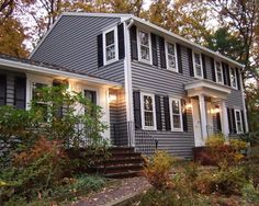 Not a huge fan of all siding but I like these colors.  Mastic Quest double 5-inch vinyl siding in Deep Granite