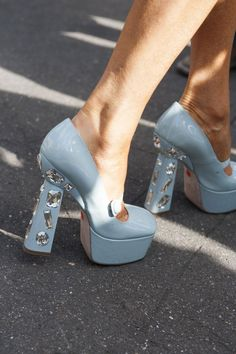 55 Street Style Snaps to Inspire Your Summer Shoe Wardrobe - pastel blue platform heels with gems | StyleCaster