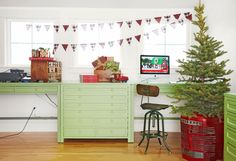 A cute, country idea for the holidays: Use a vintage tractor grill instead of a traditional tree skirt.   - HouseBeautiful.com