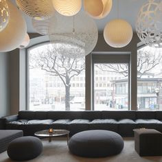 Nobis Hotel Stockholm: Custom Boxplay sofa by Swedese and a Random light by Moooi   www.swedese.se