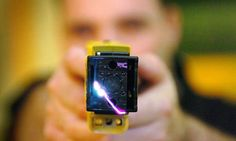 Earlier models of the wired taser, above, delivered a five-second shock. The XREP projectile can deliver a 20-second, 500 volt blow.