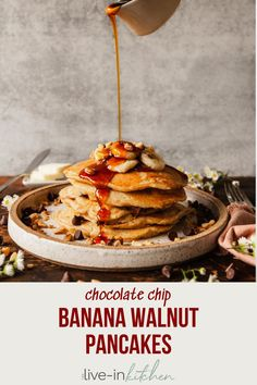 Banana walnut pancakes make a special weekend breakfast! They're loaded with chocolate chips and made with half whole wheat for even more flavor. #pancakes #breakfast #banana Fruit Pancakes, Crepes And Waffles, Savory Pancakes, Best Breakfast Recipes, Make Ahead Breakfast, Breakfast Ideas, Chocolate Covered Fruit, Chocolate Chips, Healthy Protein Pancakes