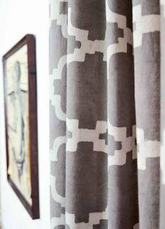 Grey curtains Geometric window ...