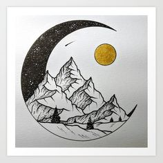 Half Moon Drawing Sketch - Half Moon Landscape Art Drawings Black And White Illustration Crescent Moon Sketch At Paintingvalley Com Explore Collection Of Mandala Half Moon Half . Art Drawings Sketches Simple, Pencil Art Drawings, Easy Drawings, Tattoo Sketches, Simple Tumblr Drawings, Moon Sketches, Tattoo Drawings, Circle Drawing, Moon Drawing