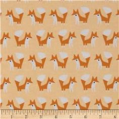 Fanfare Flannel Organic Foxes Pink