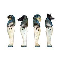 Faience amulets: the Sons of Horus  From Egypt Perhaps early Third Intermediate Period, 1079-800 BC