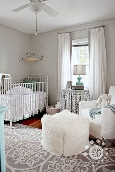 gray and white neutral baby nursery - LOVE gray & white. All I'd have to do is add pops of color for a boy or girl! :)