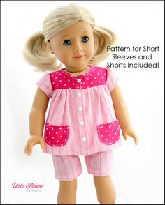 Little Abbee Slumber Party Pajamas Doll Clothes Pattern 18 inch American Girl Dolls | Pixie Faire