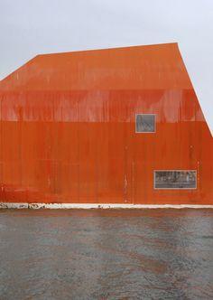 architecture meet arts: Bildbauten: Bilbau No 2 in orange is an image montage | Artist / Künstler: Philipp Schaerer |