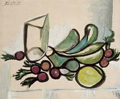 """Pablo Picasso - """"Glass and fruit [Glass and apple, lilac edge]"""". 1923"""