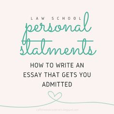 Personal statement law school